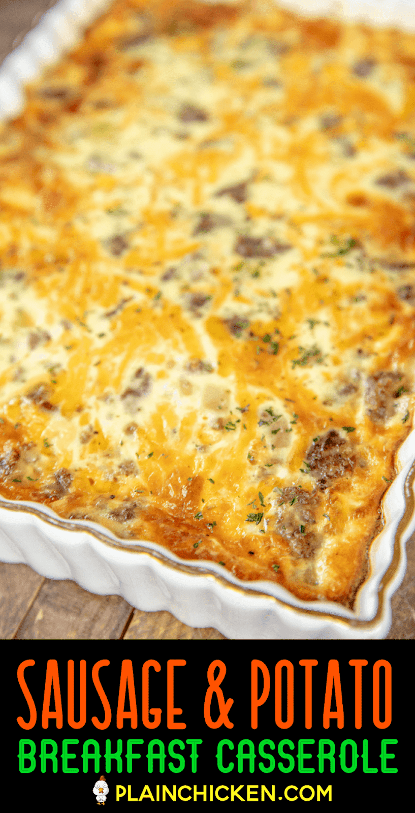 breakfast casserole in baking dish