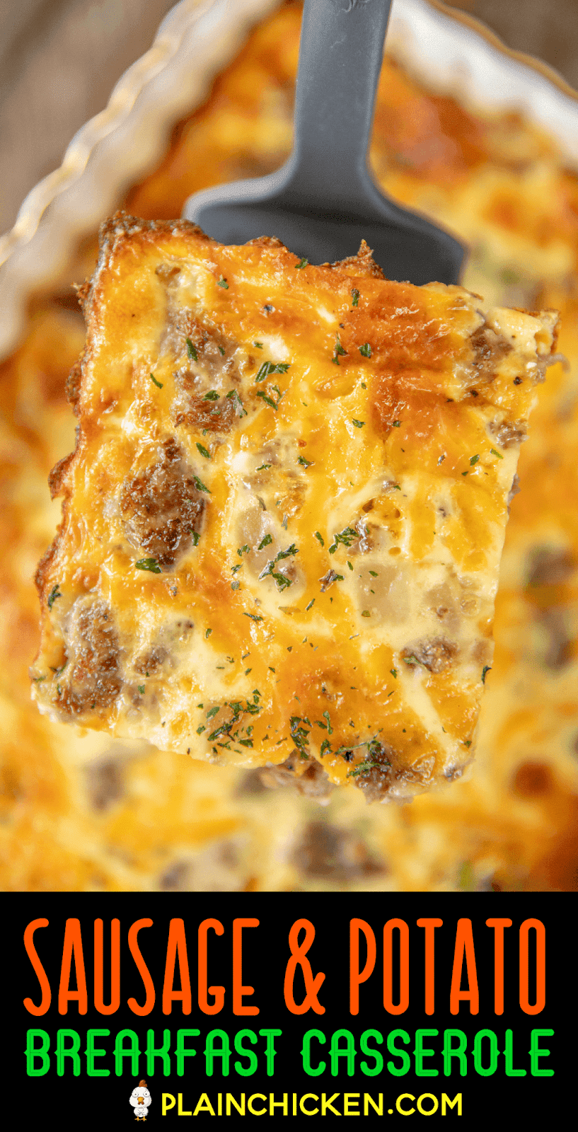 slice of breakfast casserole on spatula