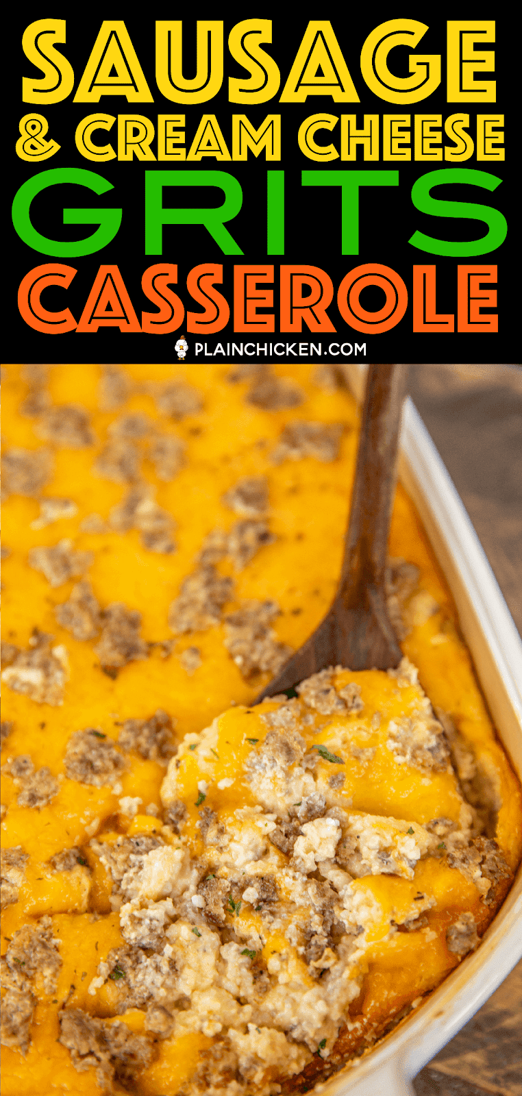 Sausage & Cream Cheese Grits Casserole - seriously delicious!! Can make ahead of time and freezer for a quick meal later! Sausage, cream cheese, grits, chicken broth, Velveeta, cheddar cheese, eggs, butter and milk. Took this to a potluck and it was gone in a flash. Everyone asked for the recipe! Great for breakfast, brunch, lunch or dinner. #casserole #freezermeal #sausage #breakfast