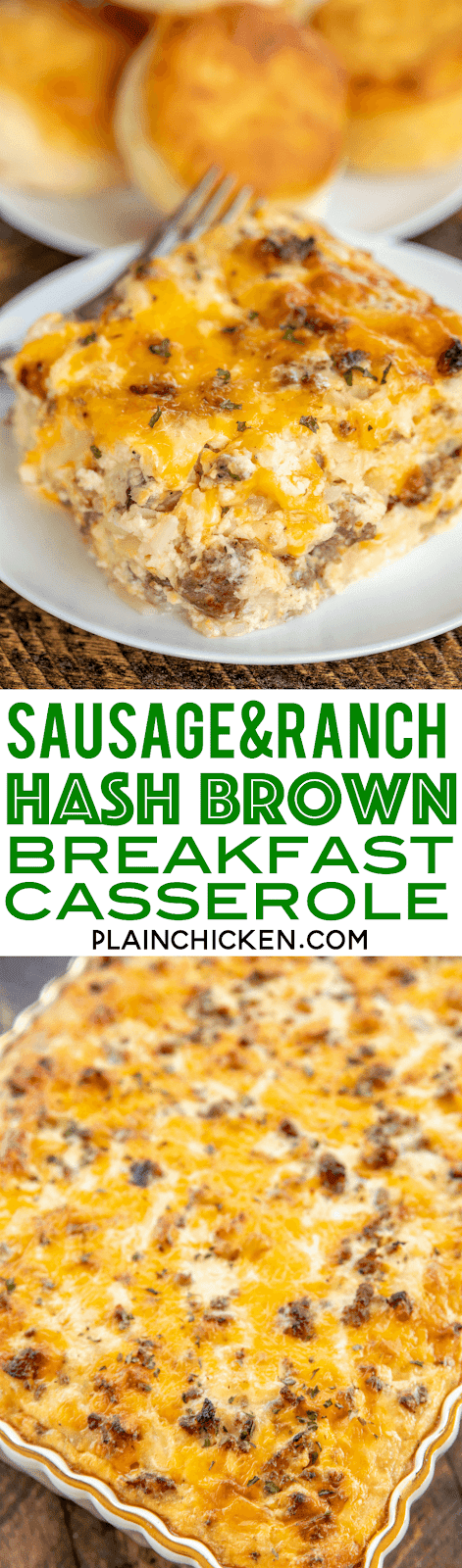Sausage Hash Brown Breakfast Casserole - only 6 ingredients! Frozen hash browns, sausage, ranch dressing, eggs, milk & cheese - can be made ahead of time and refrigerated until ready! Everyone RAVES about this easy casserole. Great for overnight guests and Christmas morning! #casserole #breakfast #sausage #freezermeal