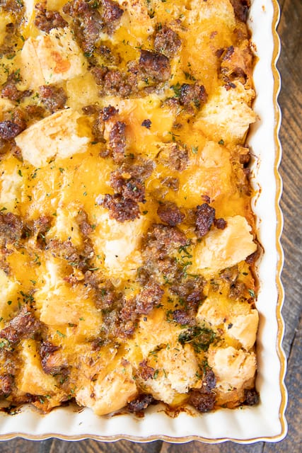 sausage breakfast casserole in baking dish