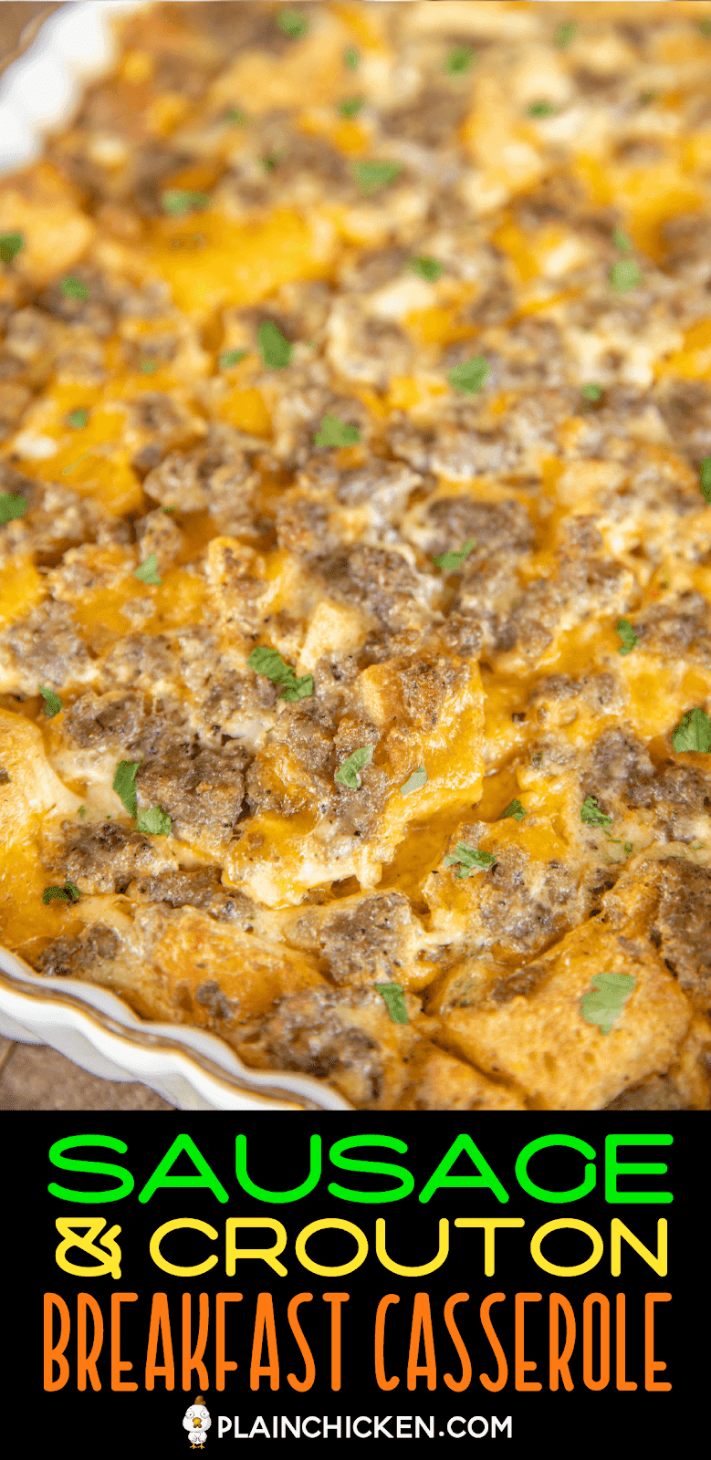 sausage breakfast casserole in baking dish