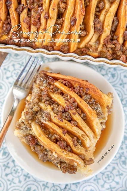 sausage pancake casserole on a plate