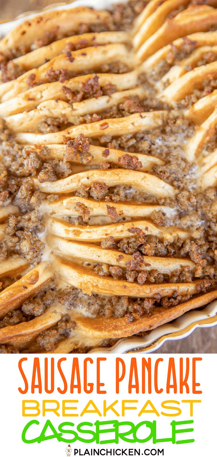 sausage pancake breakfast casserole in baking dish