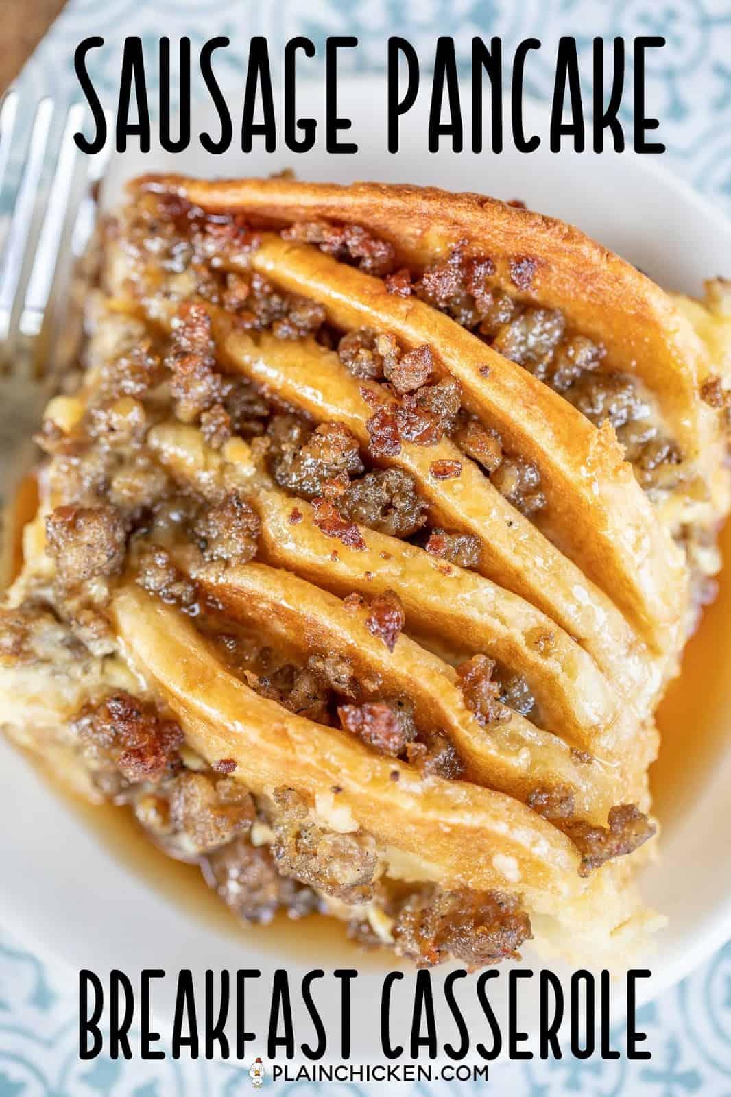 sausage pancake breakfast casserole on a plate