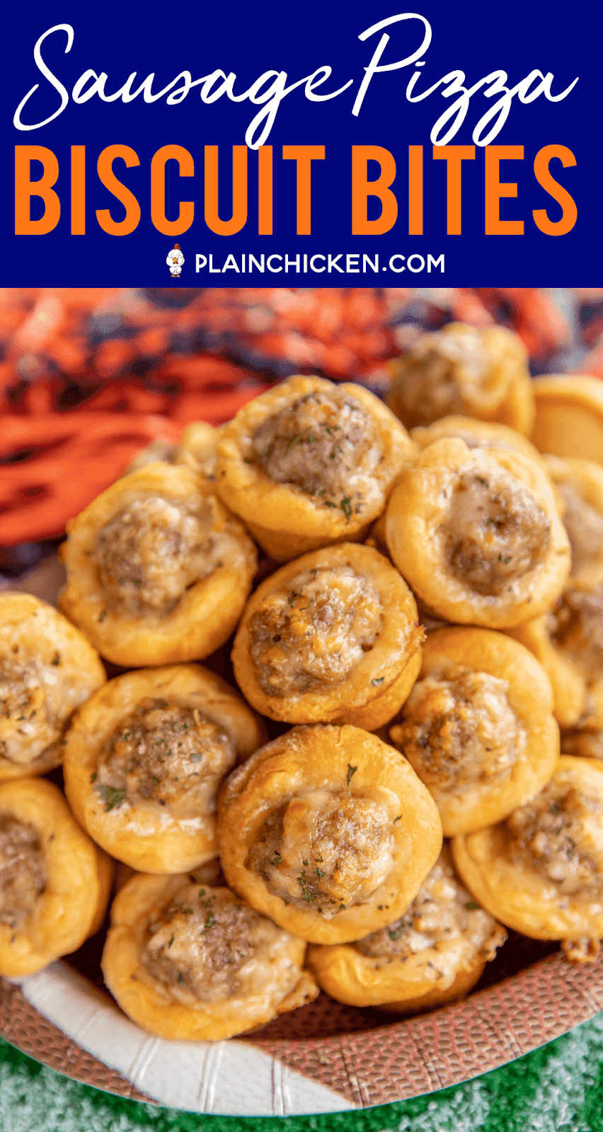 Sausage Pizza Biscuit Bites - only 4 ingredients! Sausage, spaghetti seasoning, mozzarella cheese and biscuits. Can add bell pepper, onion or mushrooms to the mixture too. Ready to eat in about 15 minutes. These things fly off the plate at our parties and tailgates! Serve with some warm pizza sauce for dipping. Everyone LOVES this easy appetizer recipe.