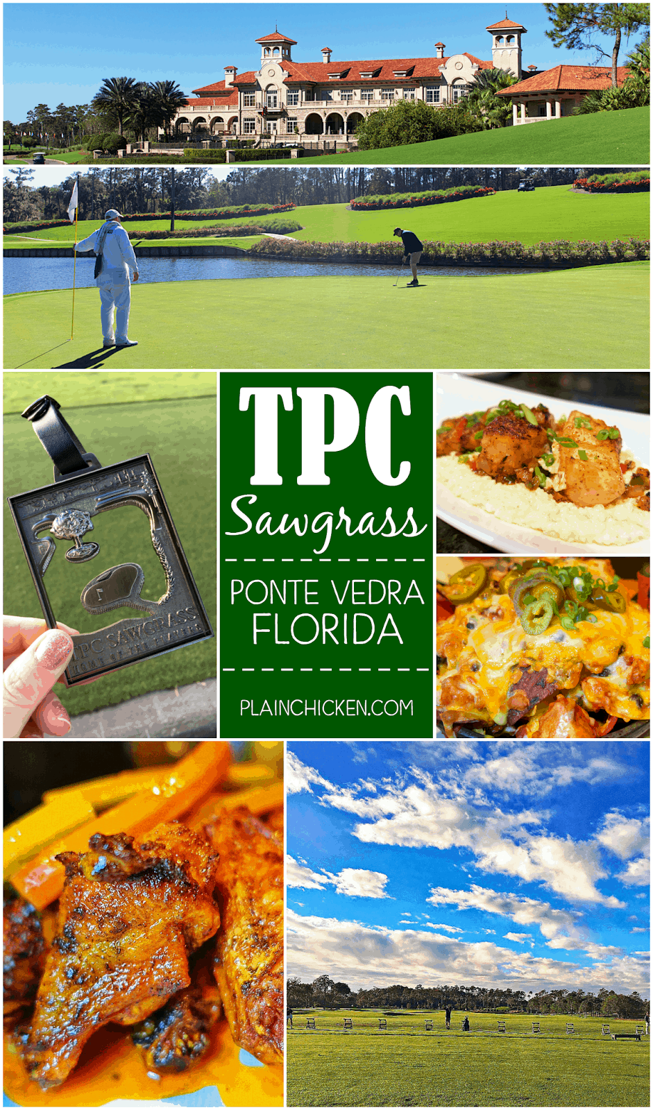 TPC Sawgrass in Ponte Vedra, FL - play the Stadium course and dine in the clubhouse at Nineteen. The food at Nineteen was AMAZING! Great golf course and great food! A fun time!