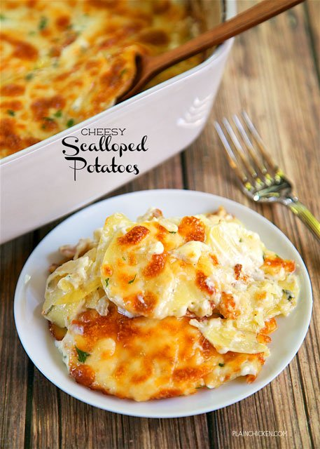 Cheesy Scalloped Potatoes - THE BEST potatoes EVER! Everything cooks in the same pan - easy cleanup! Only 5 ingredients! Potatoes, heavy cream, garlic, parsley, and mozzarella cheese. I could have a made a meal out of these potatoes. I'm still thinking about them! SO good! Easy side dish that is ready in 30 minutes.