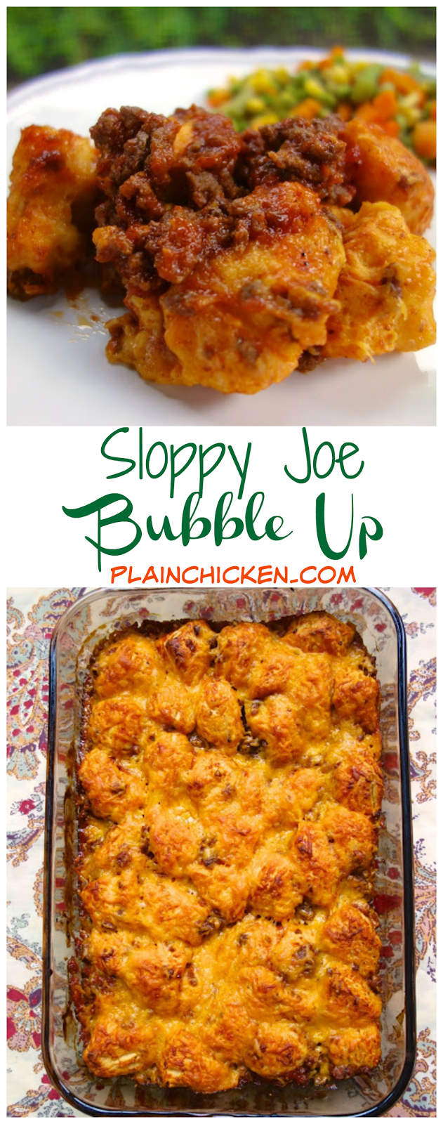 Sloppy Joe Bubble Up - homemade sloppy joe mixture tossed with chopped refrigerated biscuits and topped with cheese. Great twist to your usual sloppy joes. Tastes great! Even picky eaters like this casserole!!