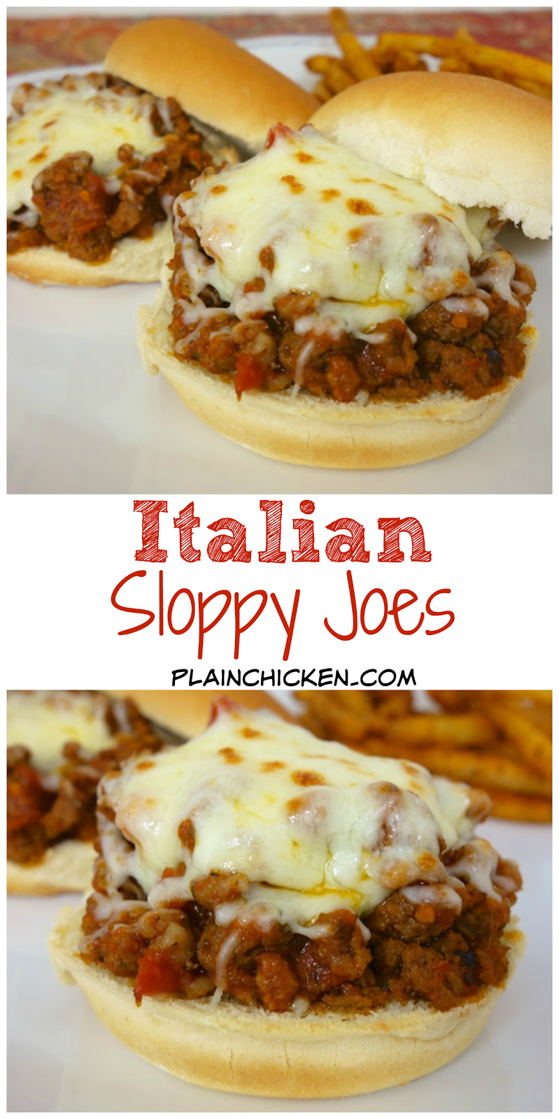 Italian Sloppy Joes recipe - combination of hamburger and sausage simmered in spaghetti sauce - top with mozzarella cheese. My favorite sloppy joe recipes! Ready in 15 minutes!