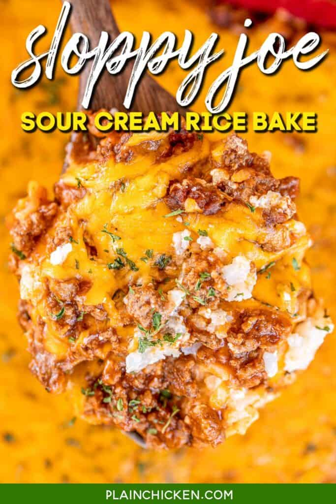spoonful of sloppy joe sour cream rice bake