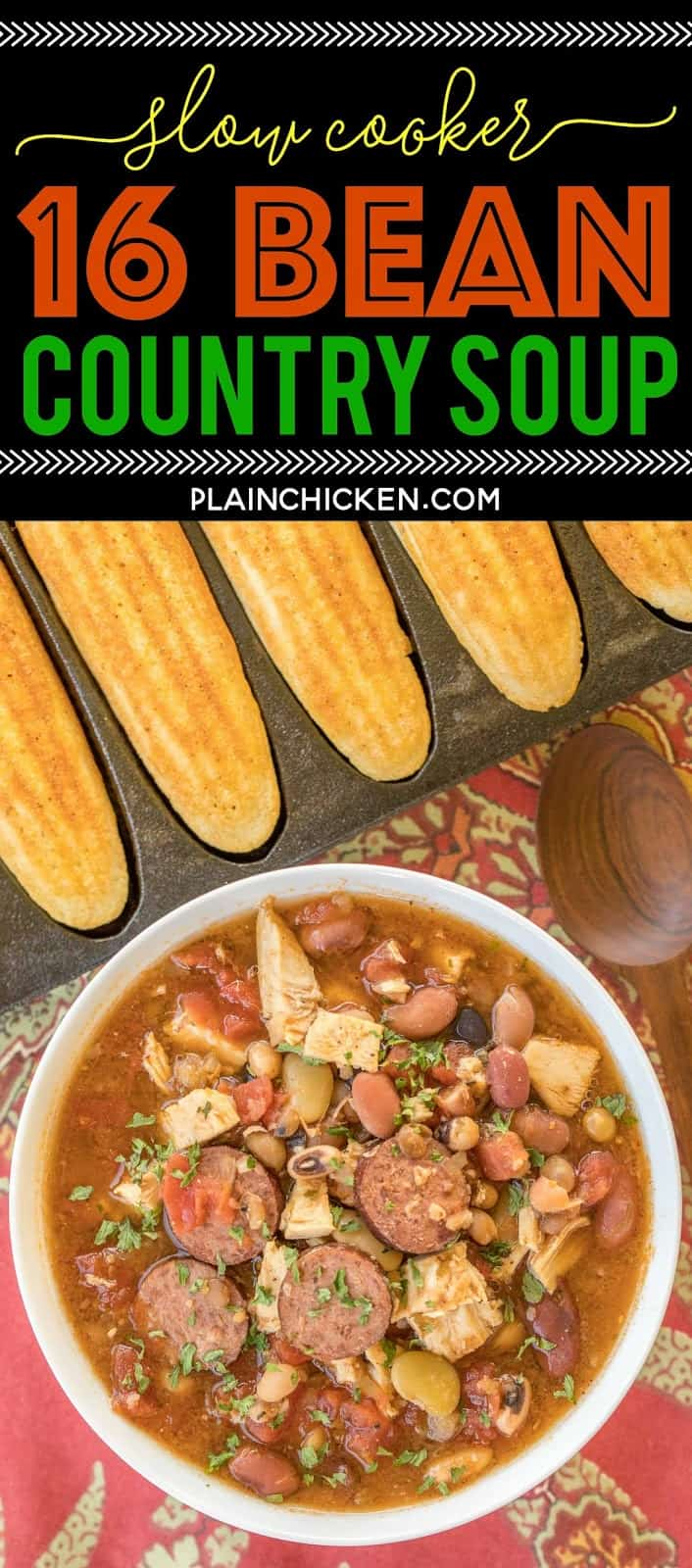 Slow Cooker 16 Bean Country Soup - absolutely DELICIOUS!!! Just dump everything in the slow cooker and let it work its magic! Smoked sausage, roasted turkey, 16 bean soup mix, tomatoes and seasonings. All you need is some cornbread and you have an easy weeknight meal. Freeze leftover for a quick meal later!! Great way to use up leftover holiday turkey! #souprecipe #slowcookerrecipe #leftoverturkey #soup #slowcooker