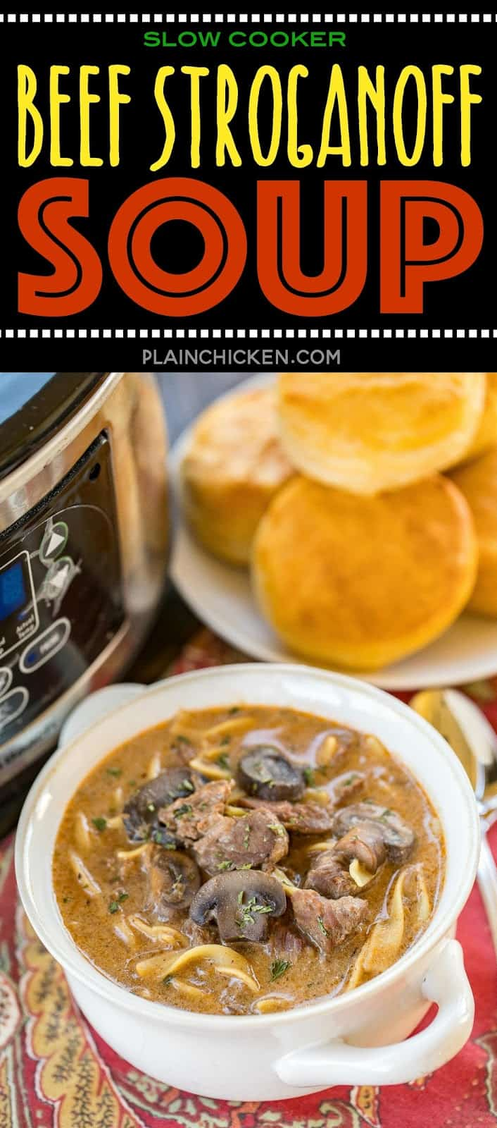 Slow Cooker Beef Stroganoff Soup - sirloin roast, beef broth, onion soup mix, tomato paste, Worcestershire sauce, mushrooms, sour cream and egg noodles. Cooks all day in the crockpot - even the noodles. Serve with some crusty bread for an easy weeknight meal! #slowcooker #crockpot #soup