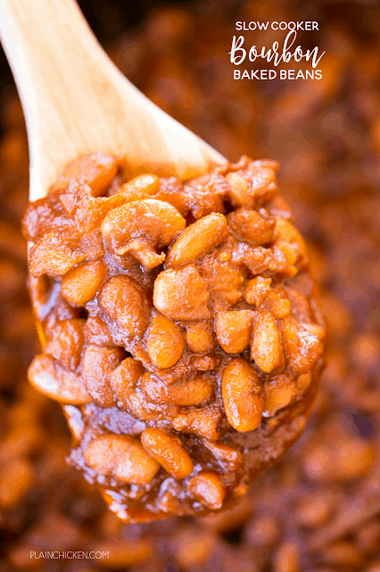 Slow Cooker Bourbon Baked Beans - seriously delicious! We love these easy baked beans! Great for potlucks and cookouts. Just dump everything in the slow cooker and let it work its magic! Northern beans, bourbon, tomato paste, molasses, mustard, Worcestershire, onion, garlic, bacon. Everyone RAVED about these beans and asked for the recipe. You can't go wrong with this easy slow cooker side dish recipe.