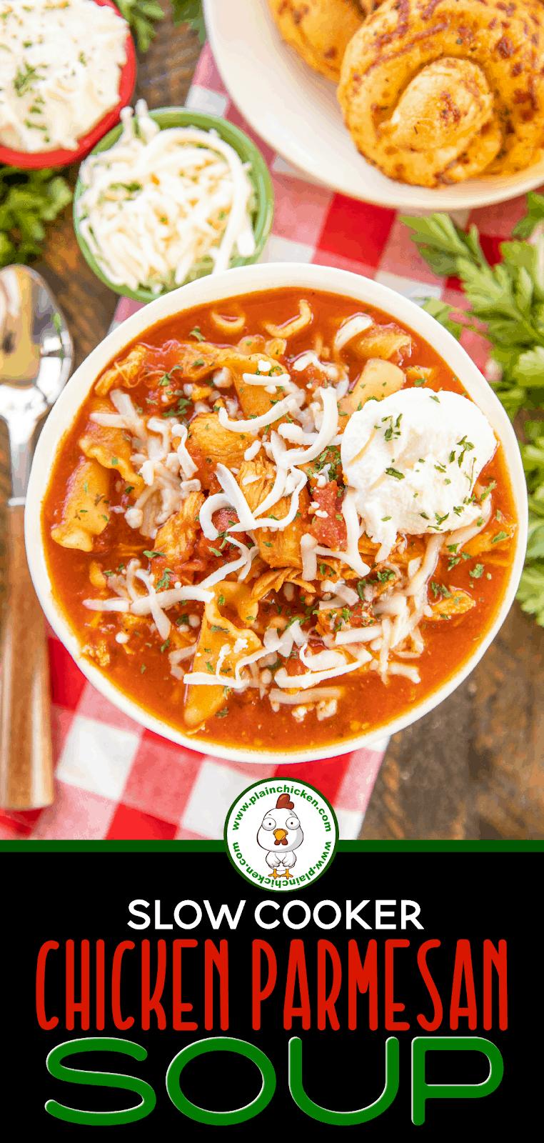 bowl of chicken parmesan soup