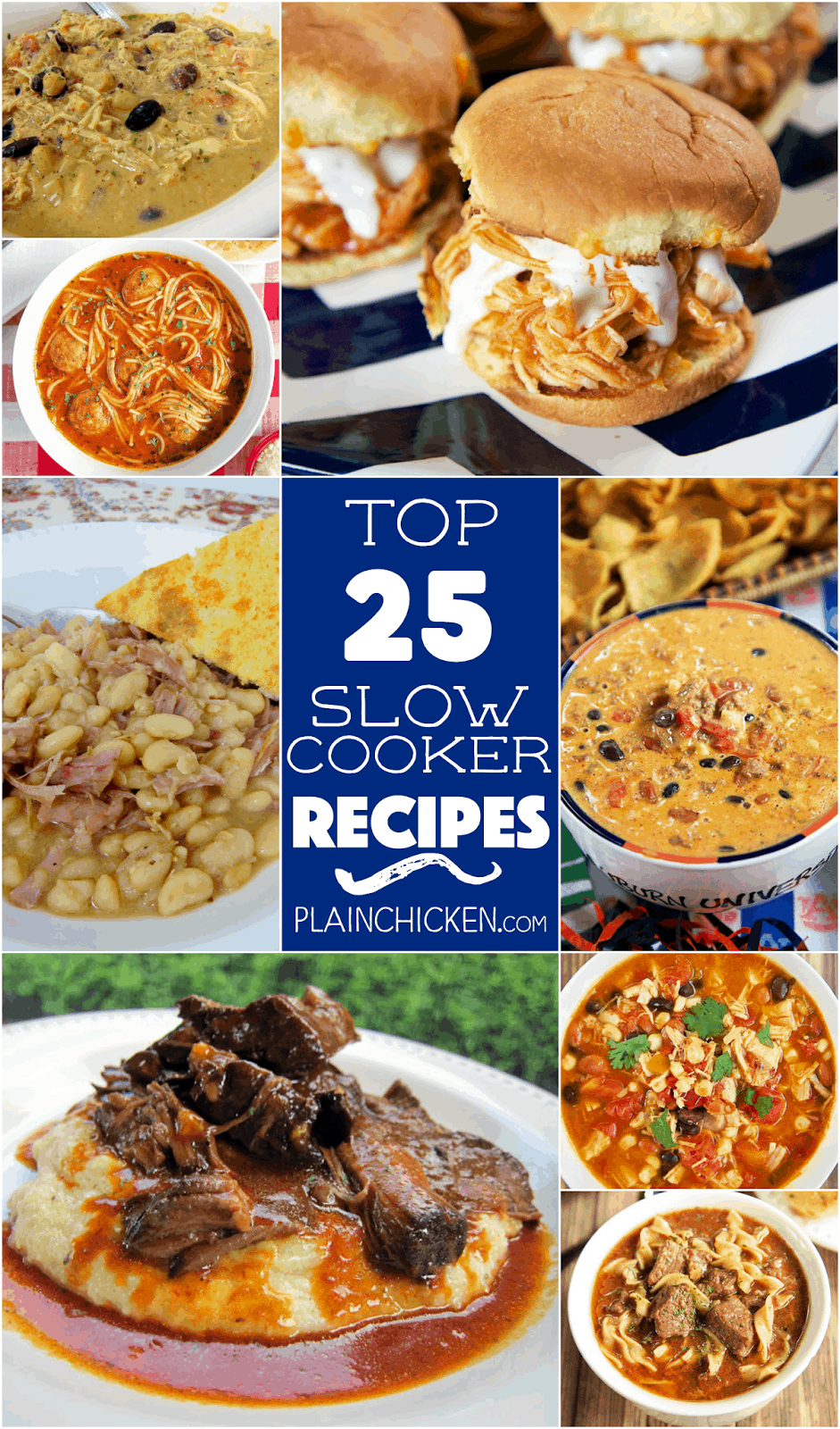Top 25 Slow Cooker Recipes - great list of recipes! Soups, stews, chicken, dips, even bread! Keep this list handy for quick and easy meal planning.