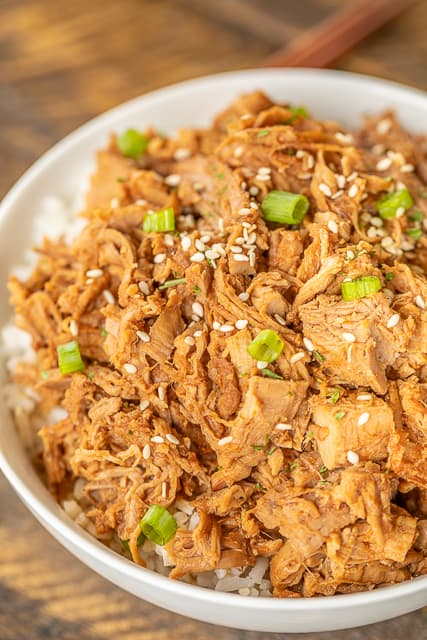 Slow Cooker Huli Huli Pork Tenderloin - DANGEROUSLY good!!! Pork tenderloin slow cooked in brown sugar, soy sauce, ketchup, sherry, ginger, and garlic. We ate this twice in one week. It was seriously delicious!! Serve over rice, potatoes or noodles. Also great on top of a salad or nachos! #slowcooker #pork #dinner