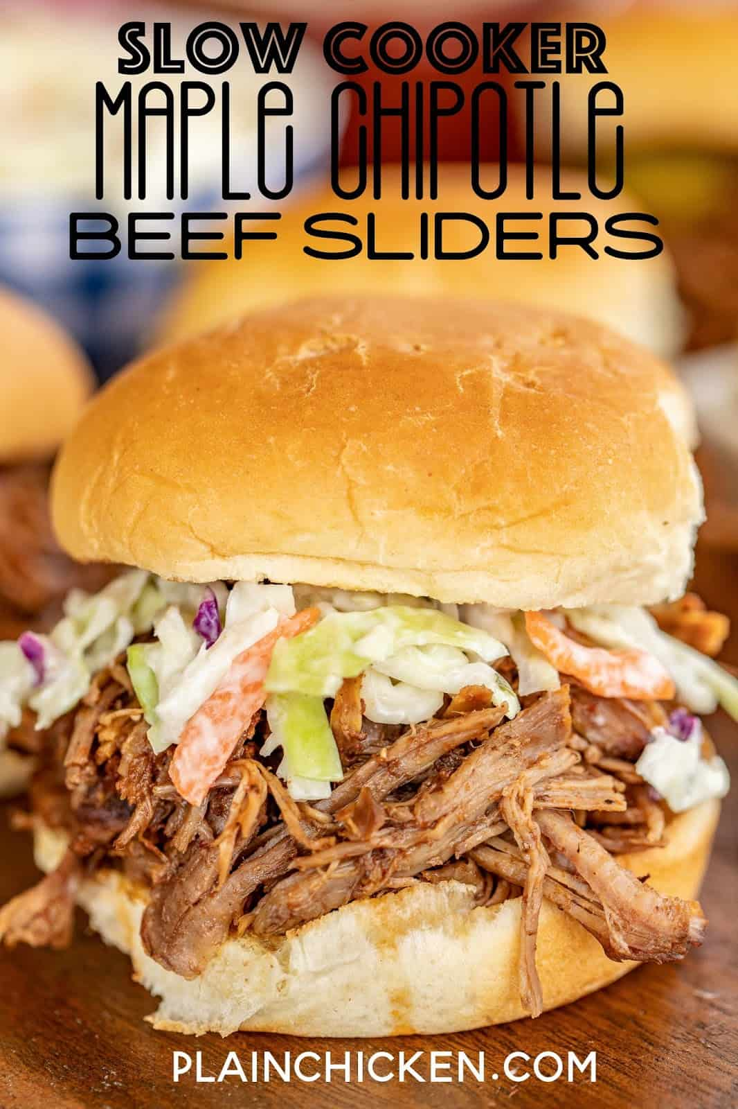 shredded beef sandwiches topped with slaw