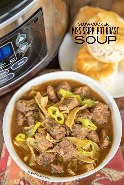 slow cooker mississippi pot roast soup in a bowl