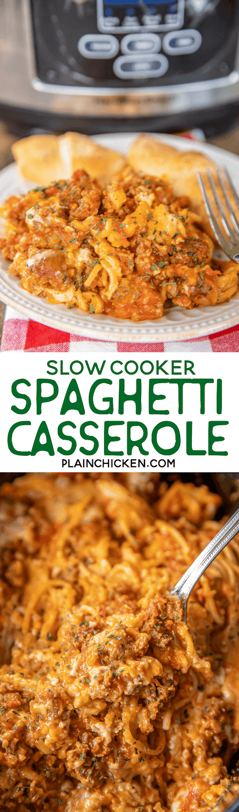 collage of 2 photos of spaghetti casserole