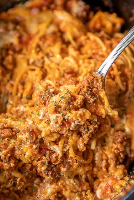 spaghetti casserole in crockpot