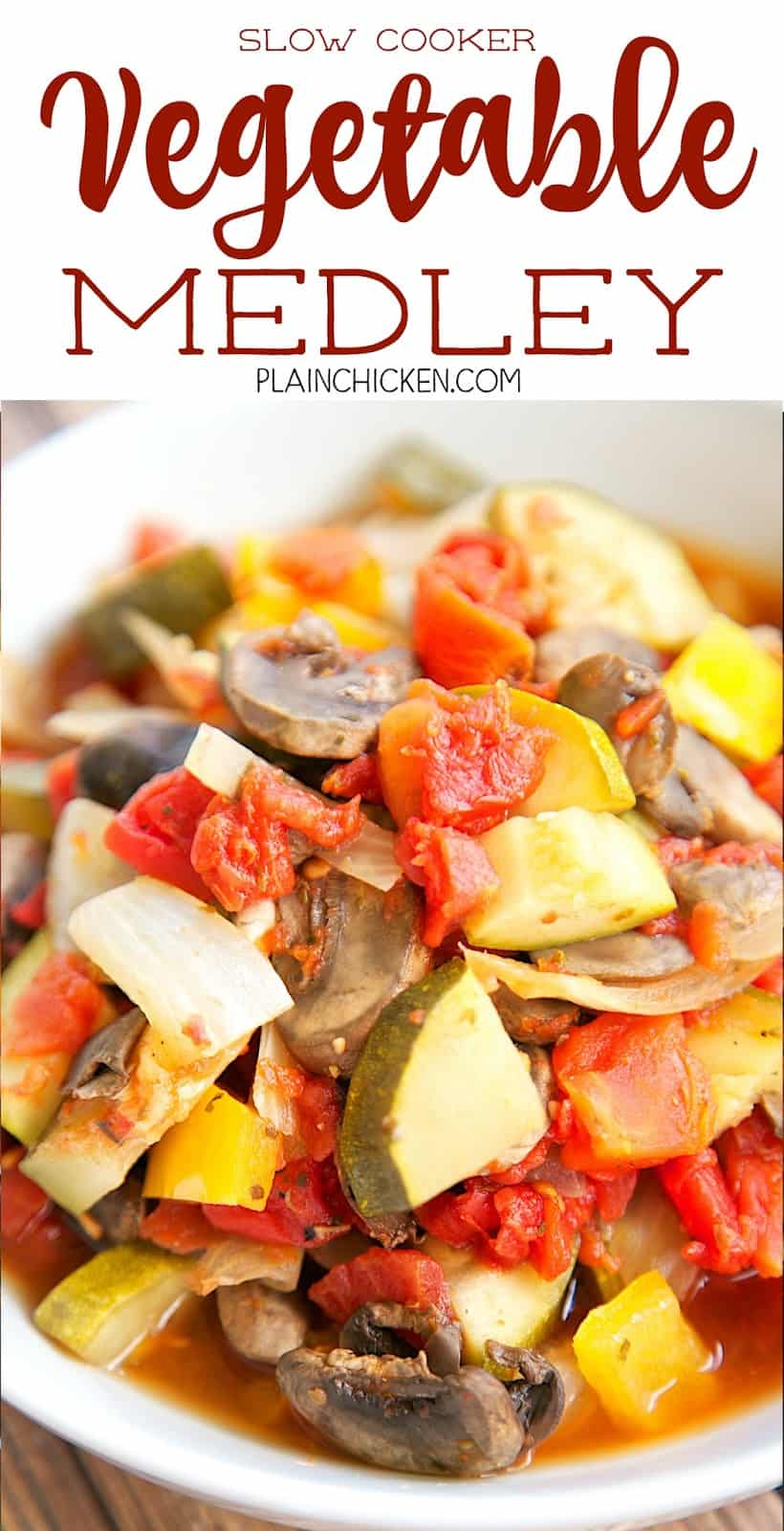 Slow Cooker Vegetable Medley - seriously delicious!! Onion, bell pepper, zucchini, tomatoes, mushrooms, garlic, oregano and pepper. Slow cook all day. Great as a side dish or over pasta!