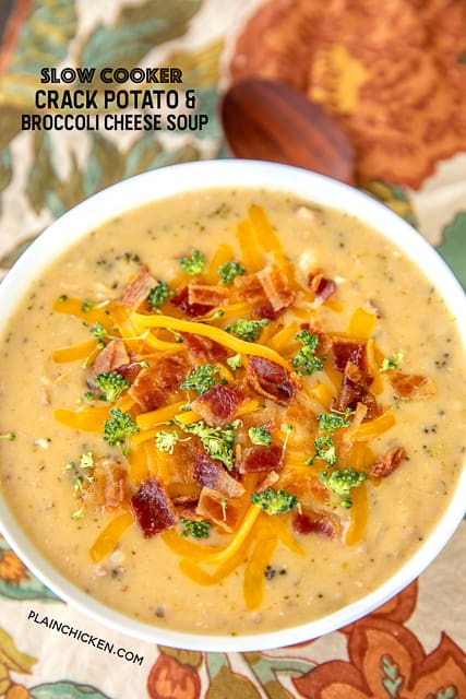 bowl of broccoli cheese soup with bacon