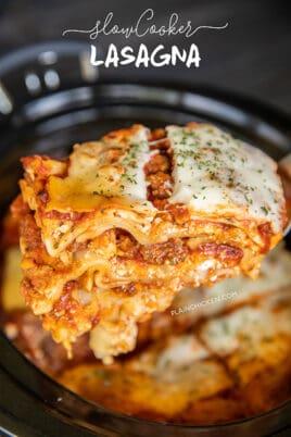 slice of lasagna on a spatula