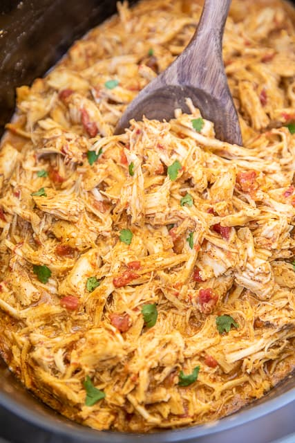 cheesy chicken taco meat in slow cooker