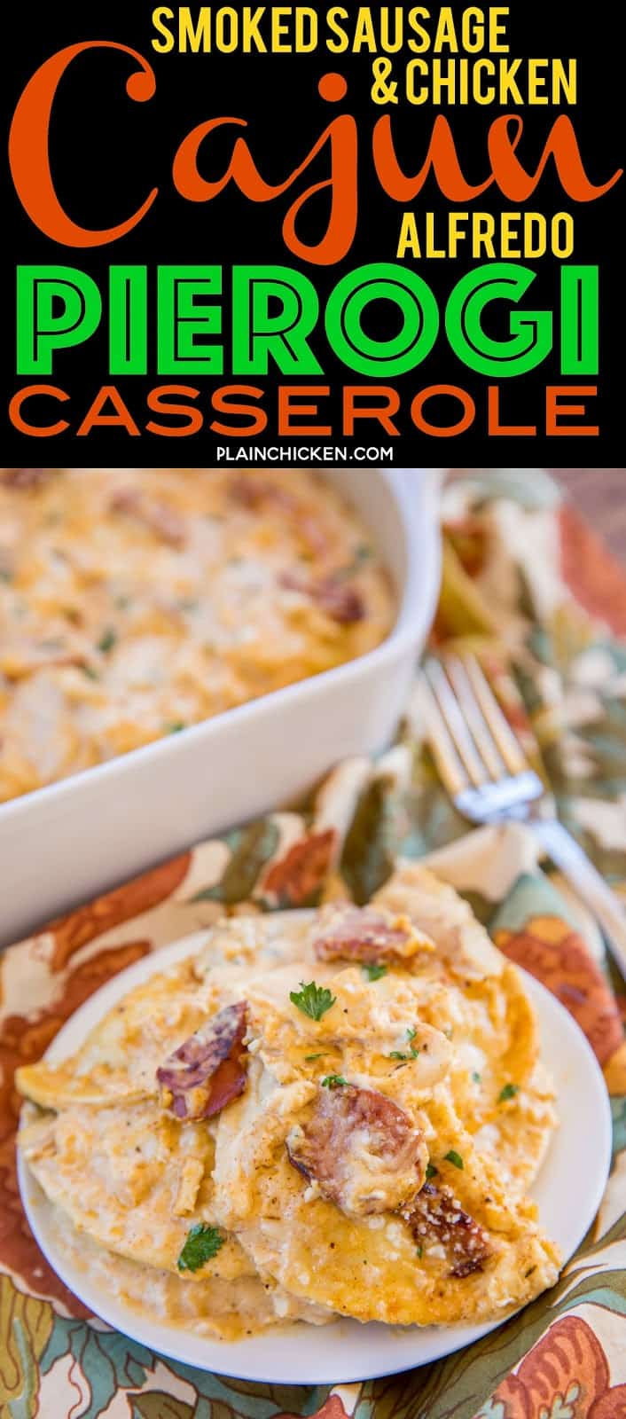 Smoked Sausage & Chicken Cajun Alfredo Pierogi Casserole - this is AMAZING!!! Super easy to make and everyone RAVES about it. Only 6 ingredients - smoked sausage, chicken, Alfredo sauce, cajun seasoning, pieorgies and parmesan cheese. Can make ahead of time and refrigerate or freeze for later. Perfect for any Mardi Gras celebrations! #casserole #mardigras #cajun #freezermeal #chickencasserole