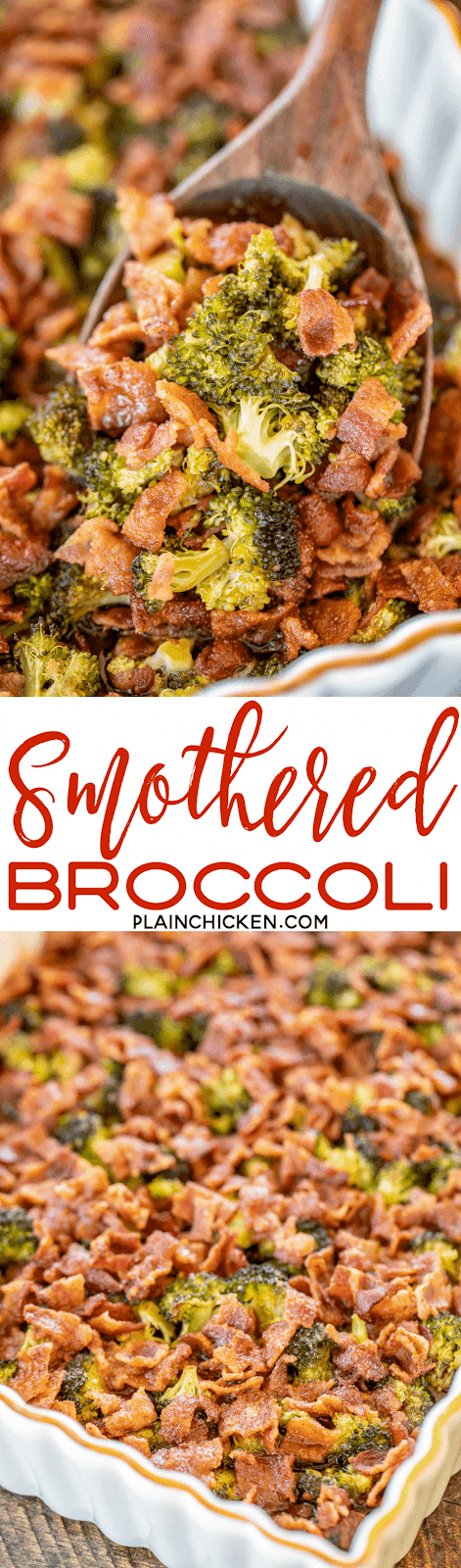 Smothered Broccoli - fresh broccoli baked in bacon, brown sugar, butter, soy sauce and garlic. This is the most requested broccoli recipe in our house.Everybody gets seconds. SO good!! Great for a potluck. Everyone asks for the recipe! Super easy to make too! #broccoli #bacon #casserole #recipe