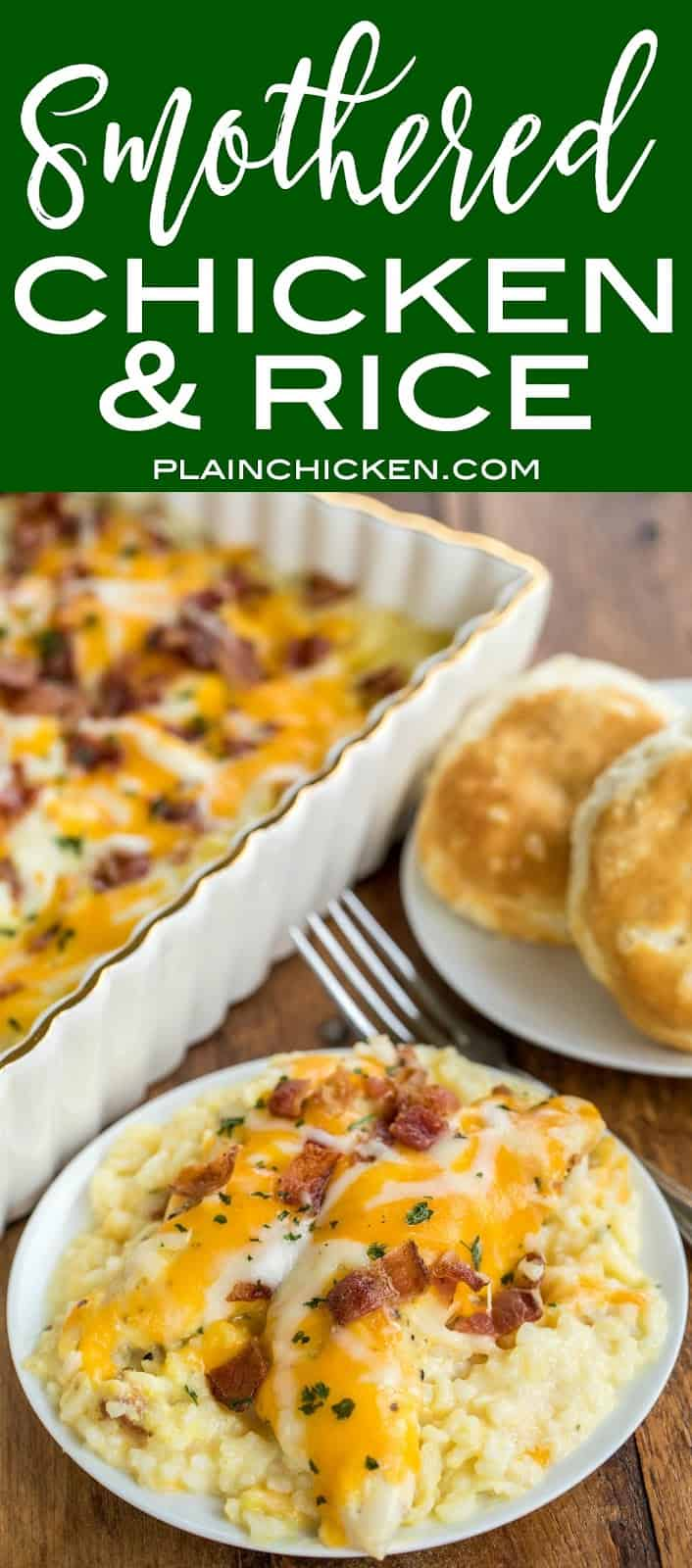 Smothered Chicken and Rice recipe - seriously delicious! Everyone cleaned their plate and asked for seconds! That never happens at our house!!! Chicken and rice baked in cream of chicken soup, milk, cheddar, mozzarella and bacon. Ready to bake in a snap and on the table in 30 minutes. We make this at least once a month!! SO GOOD!! #chickenrecipe #easychickenrecipes #chickenandrice #casserolerecipe #30minutedinnerrecipe