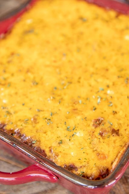 taco rice casserole in baking dish