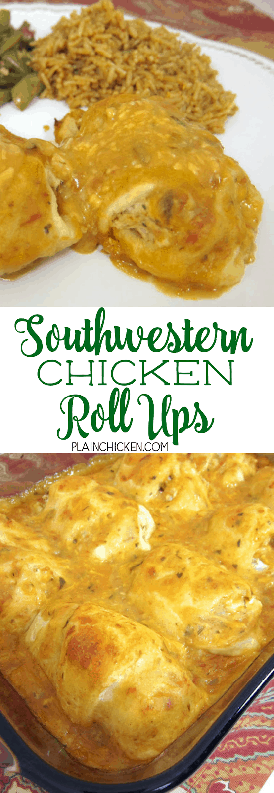 Southwestern Chicken Roll Ups - crescent rolls stuffed with chicken, cream cheese and taco seasoning topped with a mixture of chicken soup, salsa and cheese. CRAZY good! We make these once a month. Everyone loves this easy Mexican casserole! Ready in 30 minutes!
