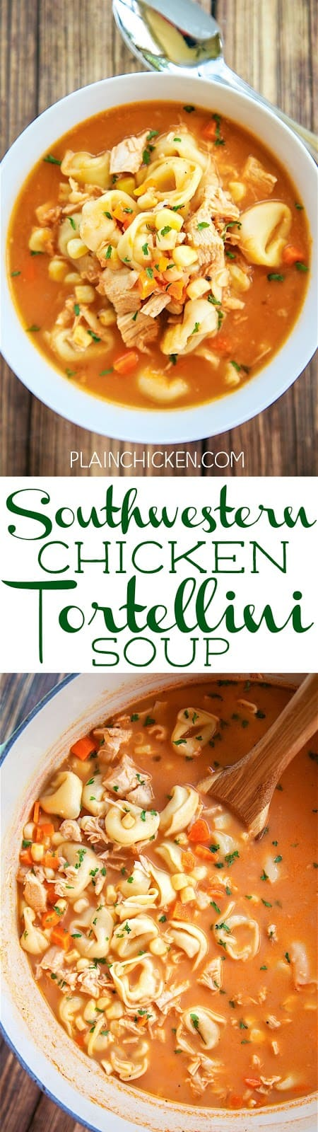 Southwestern Chicken Tortellini Soup - ready in under 30 minutes!! Chicken broth, salsa, carrots, corn, onion, frozen cheese tortellini and evaporated milk. Very hearty soup. Great weeknight meal. Everyone loved this! We ate it for dinner and reheated for lunch the next day. Delicious!