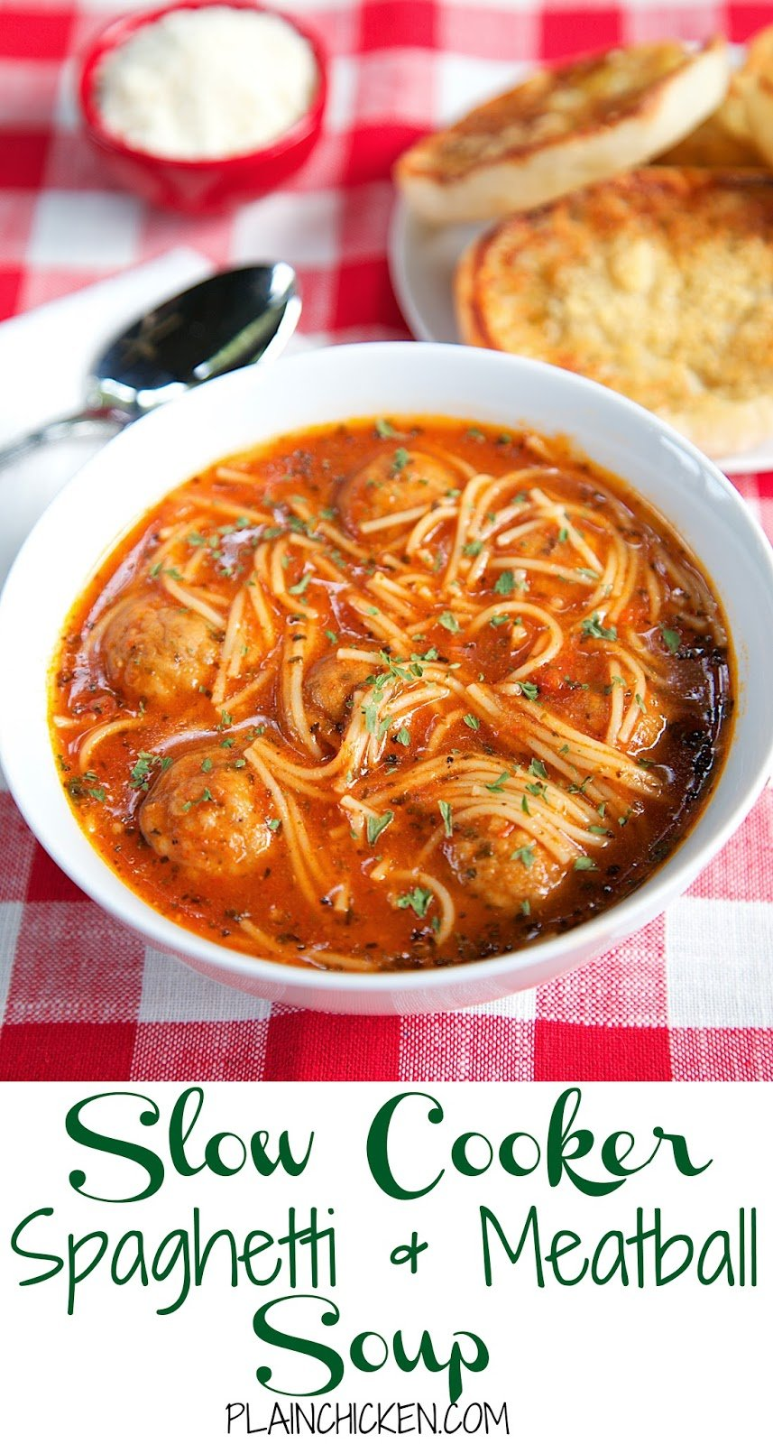 {Slow Cooker} Spaghetti and Meatball Soup recipe - frozen meatballs, spaghetti sauce, beef broth and angel hair pasta - This slow cooker soup is such a fun twist to spaghetti night! It is SO good and super quick to throw together. Serve with some warm garlic bread for a quick and easy weeknight meal!