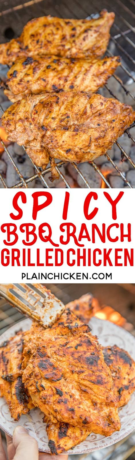 Spicy BBQ Ranch Grilled Chicken - seriously delicious chicken!! Only 4 ingredients - BBQ sauce, Ranch dressing, chili powder and red pepper flakes. Let the chicken marinate overnight for maximum flavor!! This is a favorite in our house!! We always grill extra chicken for leftovers - SO good! #grilling #chicken #grilledchicken #bbq