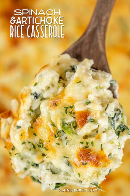 spinach rice casserole on a spoon