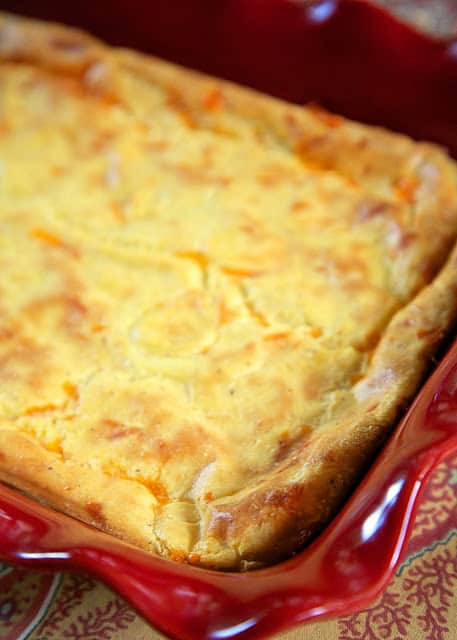 Cheddar Spoon Bread - a cross between polenta and cornbread. SO delicious! Ready in about 30 minutes. Great side dish for your holiday meal.
