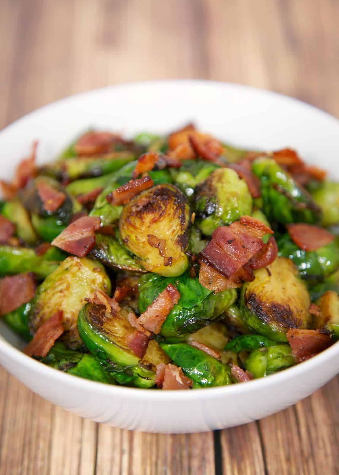 Sautéed Brussels Sprouts with Bacon - just like our favorite restaurant! Ready in about 10 minutes! Great weeknight side dish.