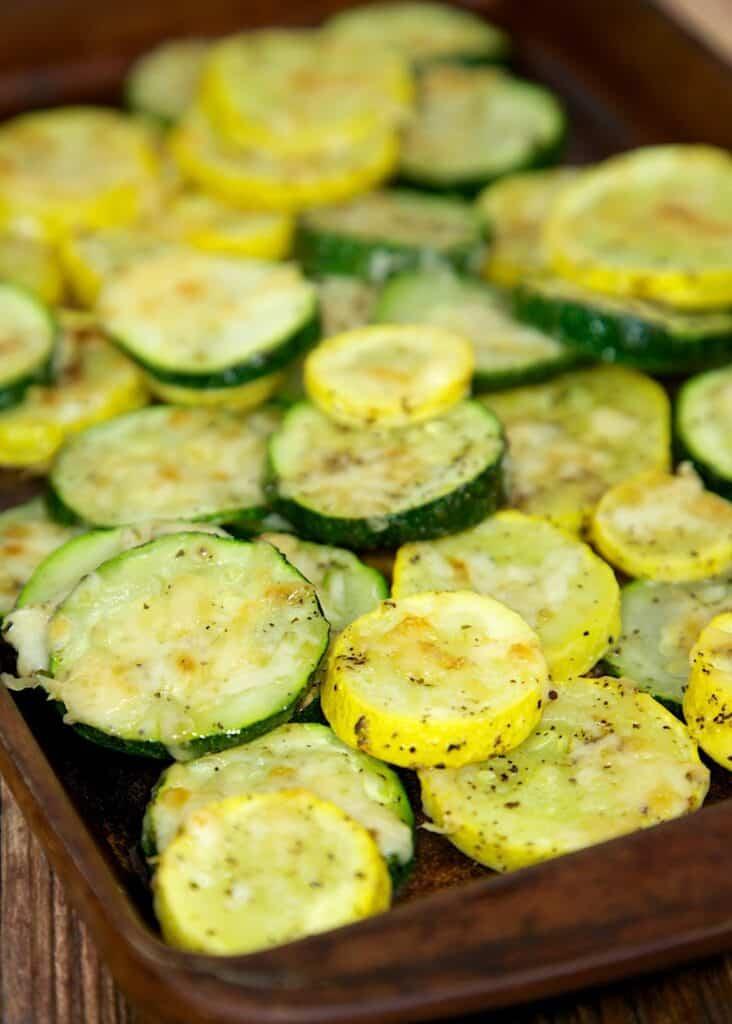 squash & zucchini on a baking sheet