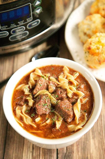 bowl of steak soup with noodles