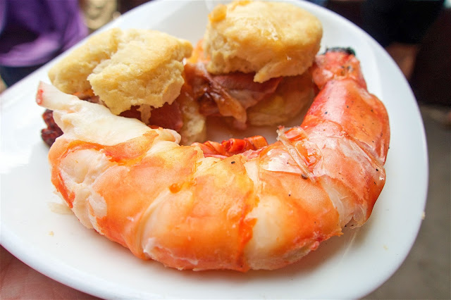 Lamb Biscuits and Giant Prawns from Urban Grub in Nashville's 12 South neighborhood.