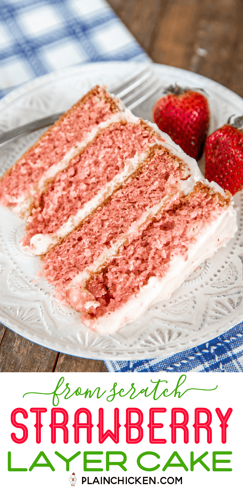 slice of strawberry layer cake on a plate