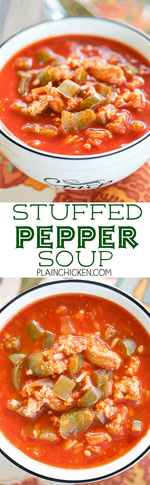 Stuffed Pepper Soup - ready in 30 minutes! Ground turkey, green peppers, onion, garlic, tomato soup, beef broth, crushed tomatoes and brown rice. SO good!! Great for a crowd!!