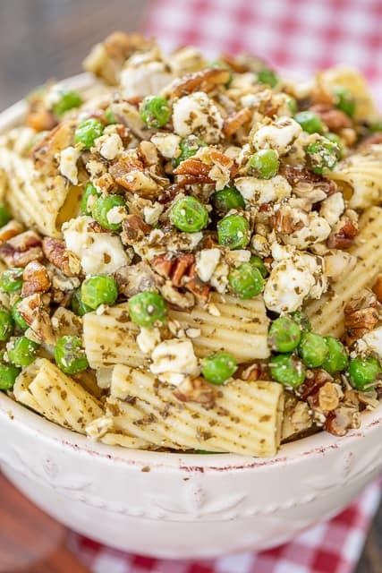pesto pasta salad in a bowl
