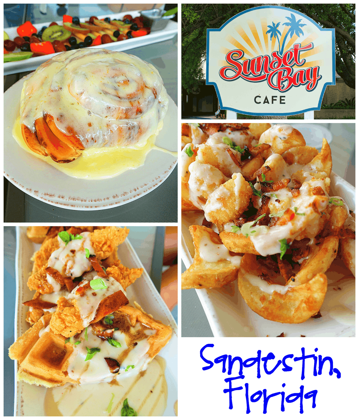 Sunset Bay Cafe  - Sandestin Golf and Beach Resort - this place is not to be missed. The food is amazing! You have to get the Southern Fries and Cinnamon Roll!
