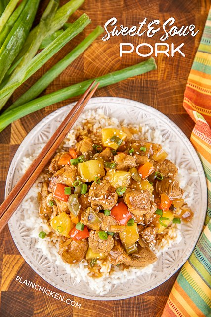 sweet & sour pork on a plate with chopsticks