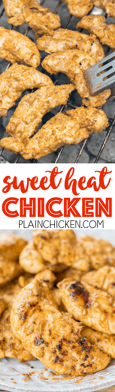 Sweet Heat Chicken - hot sauce and brown sugar marinated chicken that is totally ADDICTING! This is the perfect combination of sweet and spicy! Hot sauce, vinegar, olive oil, onion, garlic, Worcestershire, brown sugar. AMAZING flavor combination! We ate this twice in one week! SO good!