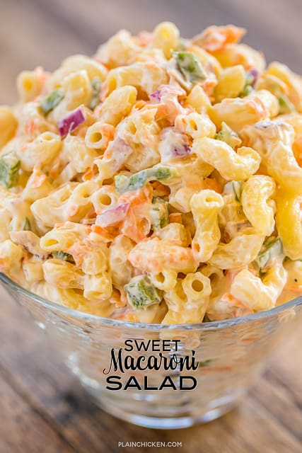 Sweet Macaroni Salad - seriously THE BEST macaroni salad EVER!! I took this to a potluck and it was the first thing gone. Everyone asked for the recipe! Can make this ahead of time and refrigerate overnight. Elbow macaroni, red onion, green bell pepper, carrots, sweetened condensed milk, mayonnaise, cider vinegar, sugar, salt and pepper. This is our new favorite side dish!!! #sidedish #pastasalad #potluck